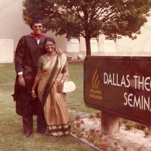 Dr. Richard and his mother, Manorama (Mrs. John) Richard, at his Dallas Seminary graduation.