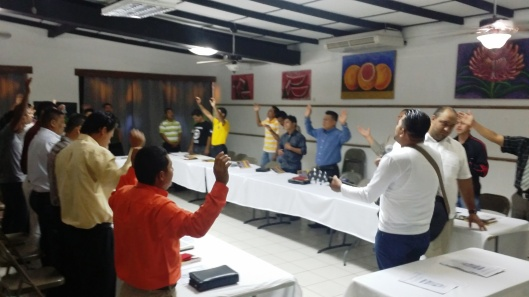 GPA Nicaragua pastors start the morning with worship